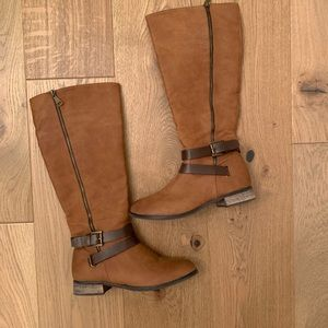 Knee high Camel Leather Strappy Boots